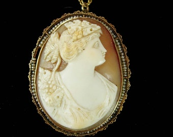 Antique 10kt gold Pearl Cameo necklace Vintage Choker & Large Brooch Greek Goddess hand carved C clasp