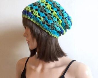 Pavillion Slouchy Beanie - Beach hat  - teal, lime green, navy, green - 100 pct cotton yarn - women girl teen - summer spring indie boho