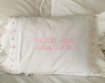 Girl's smocked monogrammed baby pillow