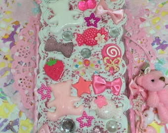 Pink Decoden Iphone 6 or 6s Case with Charm and Dust Plug