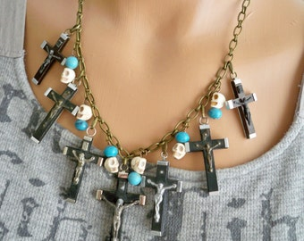 Black vintage crucifix necklace - Skull beads - Turquoise color beads - Religious - Chain - One of a Kind bycat