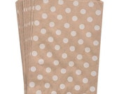 "25 Medium White Polka Dots Kraft Bag . 5"" x 7.5"" for Favors, Candy, Gift Wrap, Packaging, Envelopes"