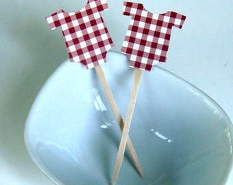 12 Red Gingham Baby Bodysuit Toppers, Baby Romper Cupcake Toppers, Party Picks or Skewers