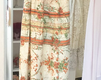 Upcycled maxi dress from vintage fabrics, laces, doilies, lingerie orange garden weekend beach