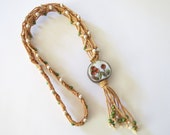 Vintage Macrame Necklace Beaded with Clay Medallion  1970's Signed