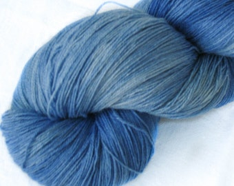 Crochet silk superwash wool yarn, azure blue, hand dyed yarn, thread, knitting yarn, weaving yarn, hand painted yarn, lace weight yarn