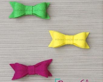 Lyla - Felt Tuxedo Bow Three Clip Set