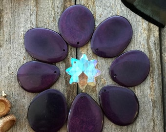 Violet Indigo: 3pcs Bold Potato Chips Tagua Slices, 1-1/2 inch plus (38mm and bigger), Fair Trade Fashion, Eco Beads / Hole Options, Purple