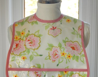 Church Flowers Extra Small Adult Bib - NEW - vinyl covered small adult bib with pocket