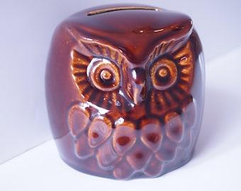 Vintage Denmead Pottery Treacle Owl Money Bank