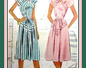 Vintage 1947-AFTERNOON DELIGHT DRESS-Two Styles-Unique Diagonal Banding-Cap Sleeves-Gathered Skirt-Bow-Belt-Size 11-Mega Rare
