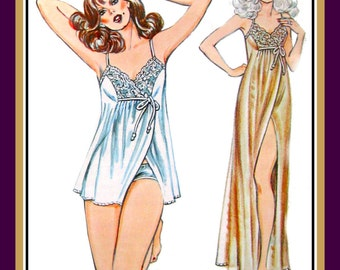 Vintage 1984-Stunning Designer Nightgown-Sewing Pattern-2 Styles-Evening Length Negligee-Baby Doll-Lace Bodice-Panties-Uncut-All Sizes-Rare