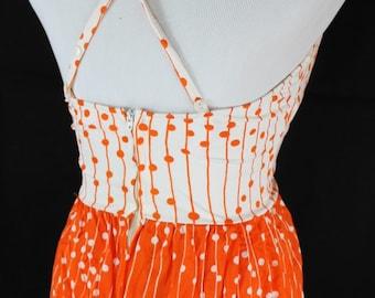 Vintage 60s Orange White Polka Dots and Stripes 2 Peice Bathing Suit Swimsuit Skirt Top Boyshort Style Chanel West Small Medium