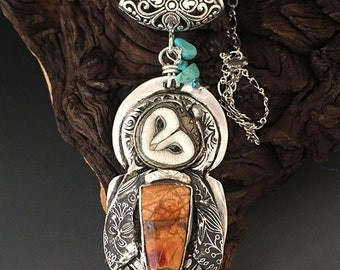 "Maya Wee Owl Sterling Silver,  Porcelain barn owl custom necklace SRA Laura Mears focal ""Reserved """