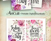 Printable MOTIVATIONAL GREETING CARDS digital download 3.5x5 inch size images for decoration and craft hand-painted flowers, typography art
