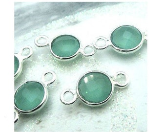 14x7mm Aqua Chalcedony Bezel Connector, 7mm Gemstone Links, 925 Sterling Silver Double Sided Faceting, BULK WHOLESALE