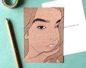 Nadia Aboulhosn - Postcard // female pencil portrait, eyebrow game strong, plus size beauty, celebrate curvy women