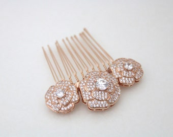 Rose Gold hair comb, Rose Gold headpiece, Bridal hair comb, Rose Gold hair clip, Wedding hair accessory, Wedding headpiece, Swarovski, BELLA
