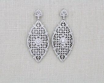 Art Deco Bridal Earrings, Crystal Wedding earrings, Wedding jewelry, Rose gold earrings, Silver earrings, Bridal jewelry, Bridesmaid, ANNA