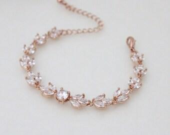 Rose Gold Bridal bracelet, Crystal Wedding bracelet, Bangle bracelet, Bridal jewelry, Bridesmaids bracelet, Cubic zirconia bracelet, Simple