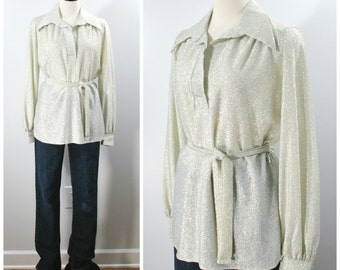 Vintage 70s Lurex Blouse, Belted Tunic Blouse Silver Metallic, Collar Shirt with Long Sleeves and Belt Size Medium