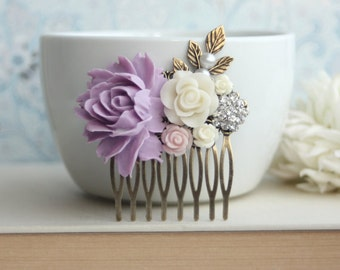 Lilac Purple Rose Comb, Ivory, Ivory Purple Flower Hair Comb. Bridesmaid Gift, Fall Rustic Purple Ivory Wedding Autumn Wedding, Fall Country
