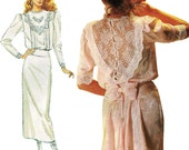 Romantic Jessica McClintock Boho Dress! Vintage ©1987 Simplicity Sewing Pattern 8224, Misses' Dress, Size 10, Uncut with Factory Folds