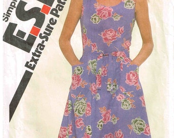 Fitted Sundress Vintage 1980s Sewing Pattern  Simplicity 9979 Misses Size 12 Bust 34 Gathered Skirt