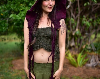 RESERVED - Felt Woodland Wine Red Fairy Leaf And Vine Pixie Hooded Flower Hat Bonnet OOAK