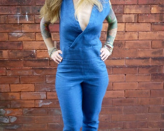 Blue V Neck Linen Open Back Jumpsuit|Sleeveless Jumpsuit|Straight Leg|Plus Size Jumpsuit|Fitted Jumpsuit|Casual Jumpsuit|Navy Jumpsuit|