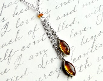 Amber Necklace, Sterling Silver - Elvish Sun by CircesHouse on Etsy