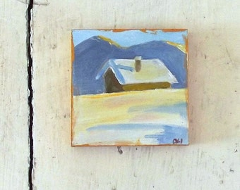 house snow winter mini oil painting  impressionist small art tiny decoration