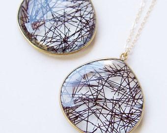 SALE Black Rutilated Quartz Gold Necklace