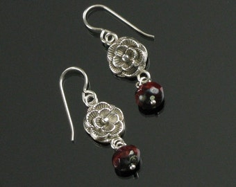 Garnet & Silver Floral Earrings, Silver Flower Dangle Earrings, Unique Gift for Women, Handmade Jewelry Gift for Her, Gift for Girlfriend