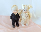 vintage bisque bride and groom, antique wedding cake topper, wedding couple, 4 inches, collectibles