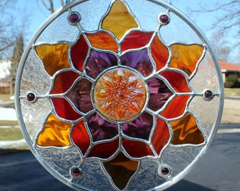Stained Glass Panel in Amber, Purple and Red
