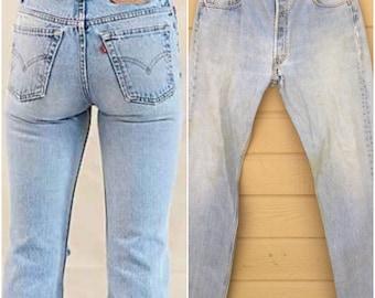 Levi's 501 501s Boyfriend Jeans Vintage 70s Levis denim, 35 X 32 Denim high waist Light wash Haute fashion crop Distressed