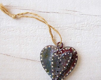 Double Heart Ornament mixed media ornament Christmas Gift Tag #48