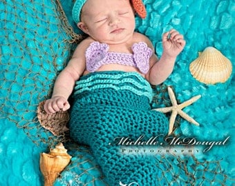 3 to 6 month Turquoise Mermaid Tail Costume, Baby Girl Photo Prop