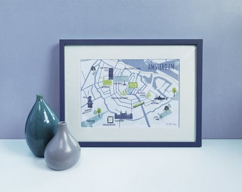 Amsterdam City Map / A4 Art Print / Digital Art Print / Amsterdam Print / City Map