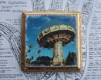 Original Art, Miniature, Carousel, Swing, Square, 4 x 4, Gold, Summer