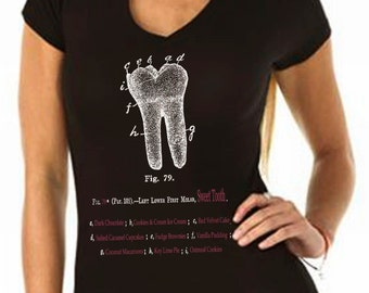 sweet tees - sweet tooth - candy shirt - baking gifts - chef gift - womens tshirts - cooking gifts - food gift - SWEET TOOTH - sport vneck
