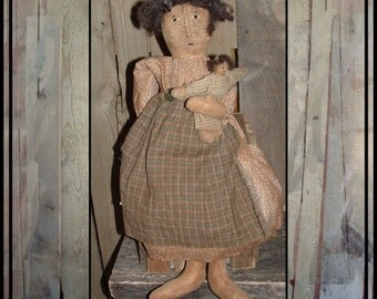 Primitive hand embroidered folk art rag doll baby doll HAFAIR ofg faap haguild lucys lazy dayz neutral colors mother and child