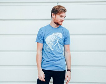 Polar Bear on a Bike - Mens American Apparel Shirt