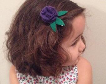 Purple Round Flower Clip