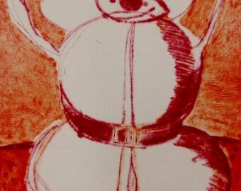Red Snowman carborundum print