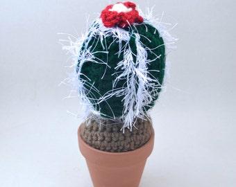 dark green and red amigurumi crochet fuzzy cactus plant