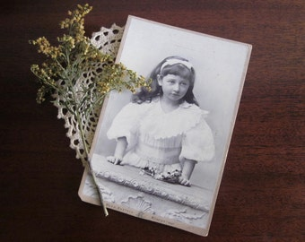 German Victorian little girl 1889 large cabinet card