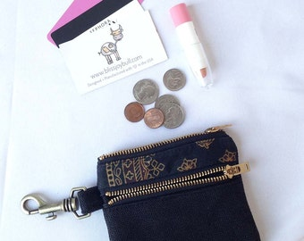 Womens Wallet Slim Zip. Zippered Coin Pouch. Gold Canvas Wallet. Wallet Minimalist. Cute Double ZIp Pouch. Wallet Coin Pouch.