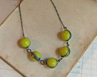 Chartreuse Yellow Marble Necklace One of a Kind Glass Jewelry